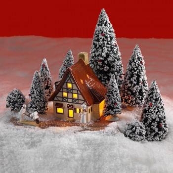 Schneetanne 9er Set mit roten Kugeln